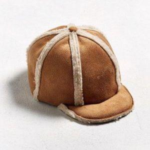 UO Chums Men's Brown Mouton Pilot Hat NEW